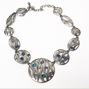 Chico's • Silver Disc Statement Necklace